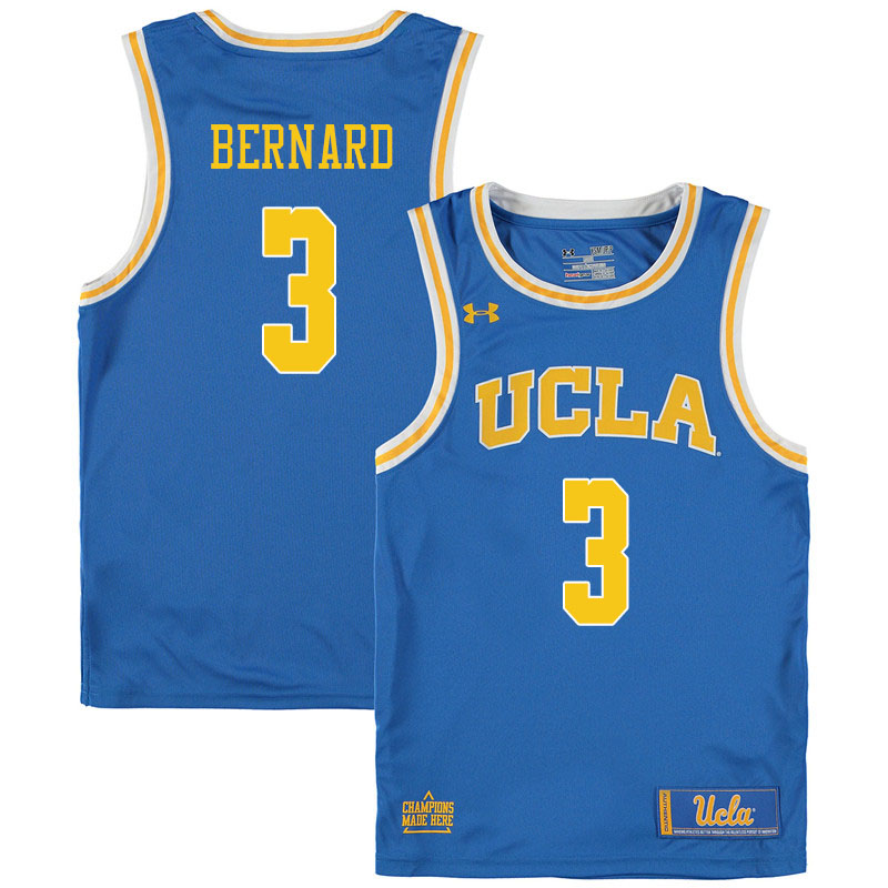 Men #3 Jules Bernard UCLA Bruins College Basketball Jerseys Sale-Blue