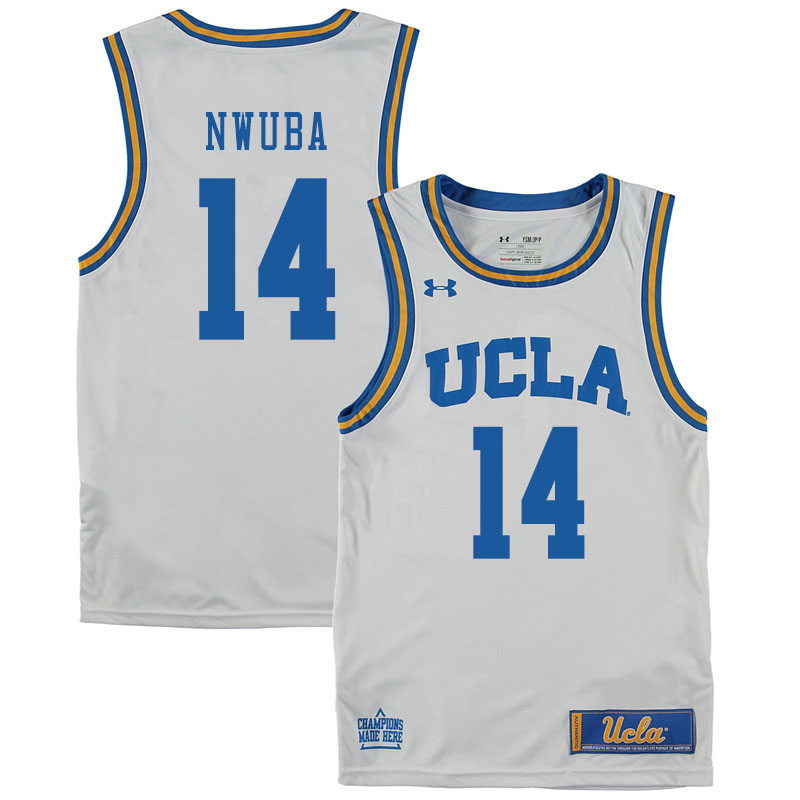 Men #14 Kenneth Nwuba UCLA Bruins College Basketball Jerseys Sale-White