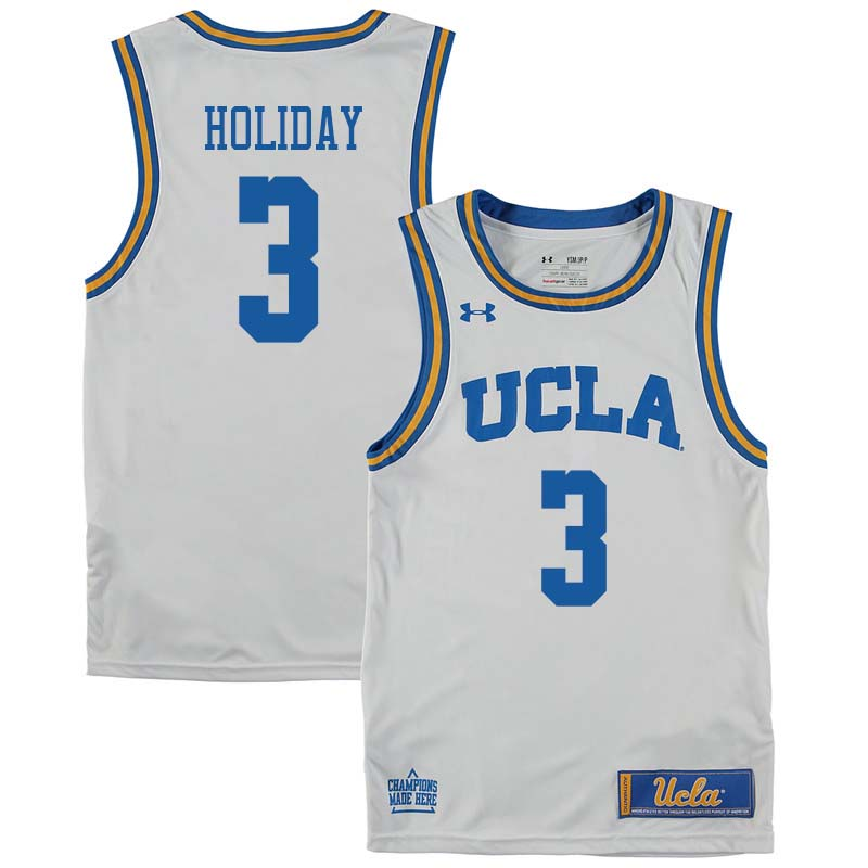 Men #3 Aaron Holiday UCLA Bruins College Basketball Jerseys Sale-White