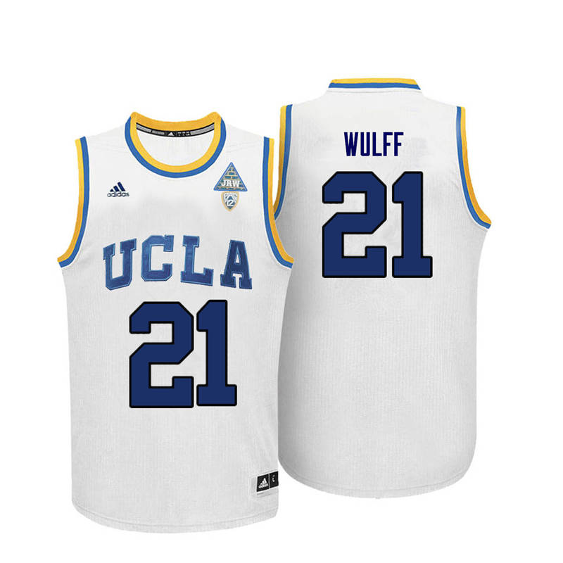 Men UCLA Bruins #21 Alec Wulff College Basketball Jerseys-White