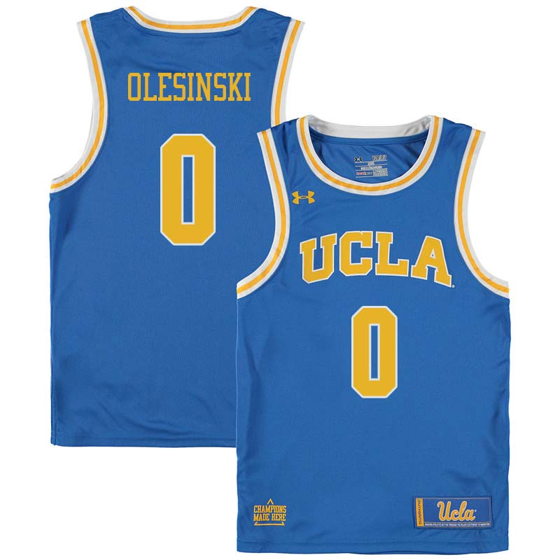 Men #0 Alex Olesinski UCLA Bruins College Basketball Jerseys Sale-Blue