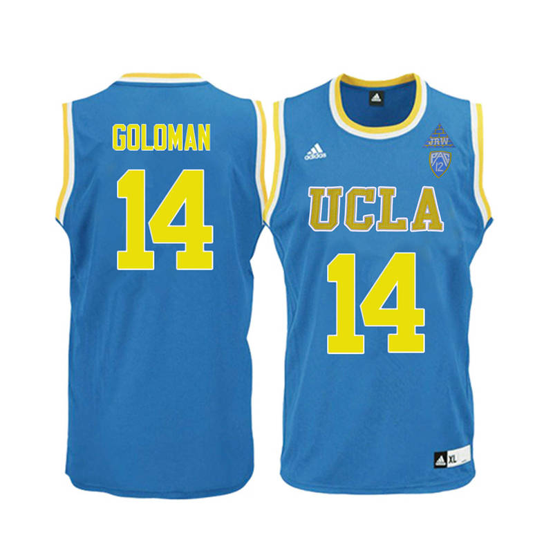 Men UCLA Bruins #14 Gyorgy Goloman College Basketball Jerseys-Blue