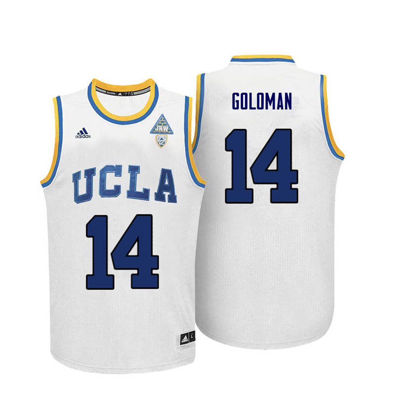 Men UCLA Bruins #14 Gyorgy Goloman College Basketball Jerseys-White