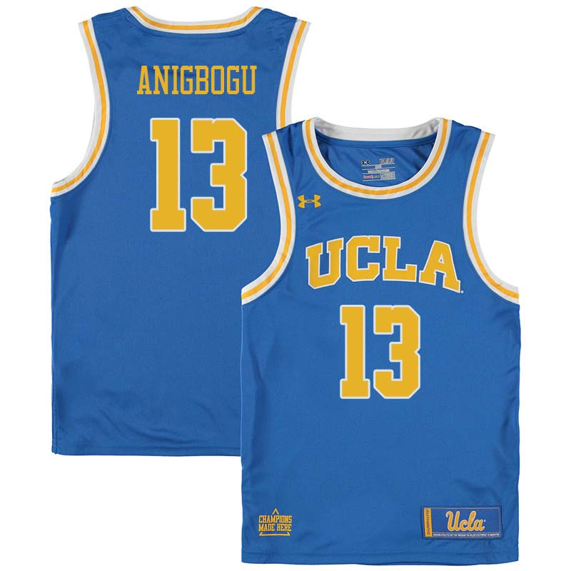 Men #13 Ike Anigbogu UCLA Bruins College Basketball Jerseys Sale-Blue