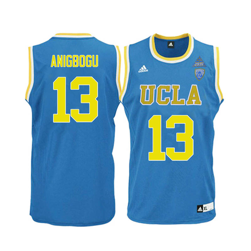 Men UCLA Bruins #13 Ike Anigbogu College Basketball Jerseys-Blue