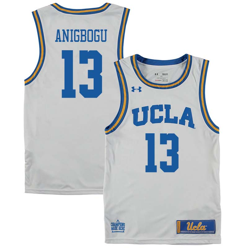 Men #13 Ike Anigbogu UCLA Bruins College Basketball Jerseys Sale-White