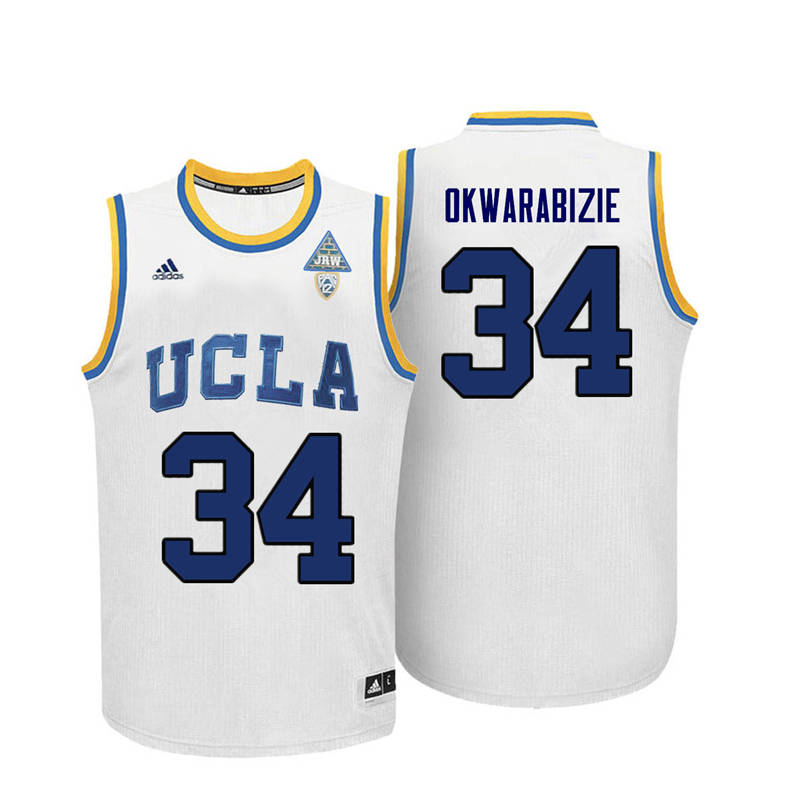Men UCLA Bruins #34 Ikenna Okwarabizie College Basketball Jerseys-White