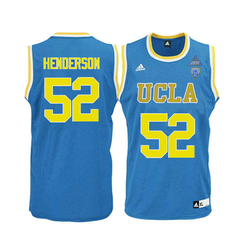Men UCLA Bruins #52 J.R. Henderson College Basketball Jerseys-Blue
