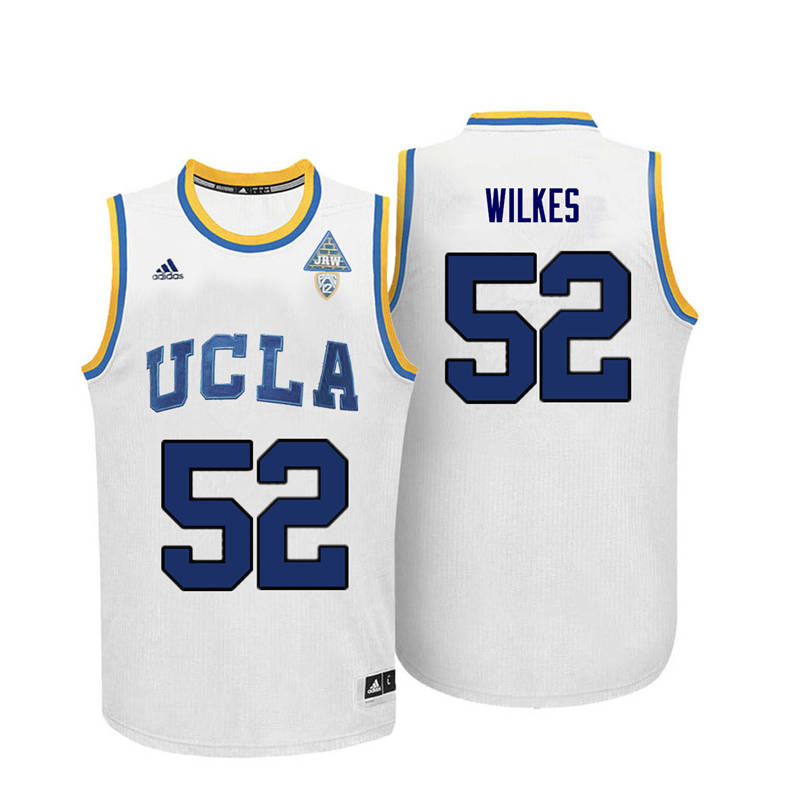 Men UCLA Bruins #52 Jamaal Wilkes College Basketball Jerseys-White