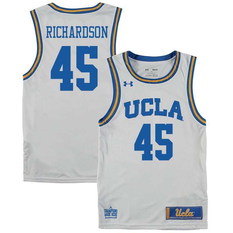 Men #45 Jerome Richardson UCLA Bruins College Basketball Jerseys Sale-White