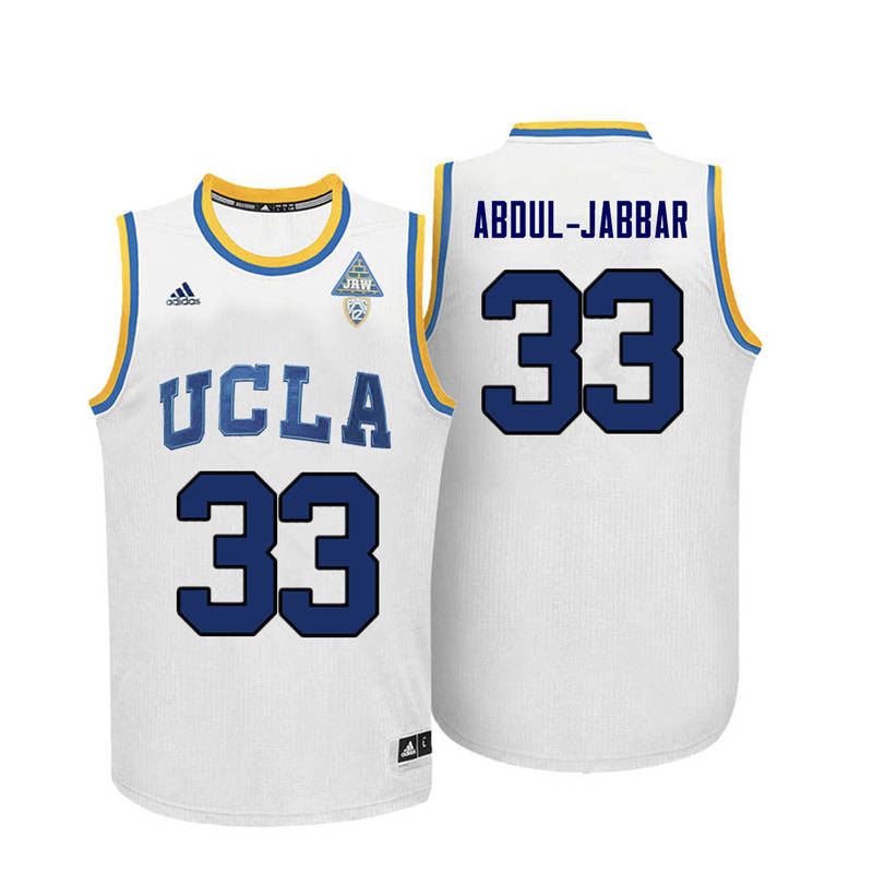 Men UCLA Bruins #33 Kareem Abdul-Jabbar College Basketball Jerseys-White