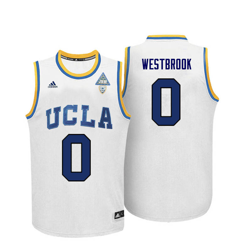 Men UCLA Bruins #0 Russell Westbrook College Basketball Jerseys-White