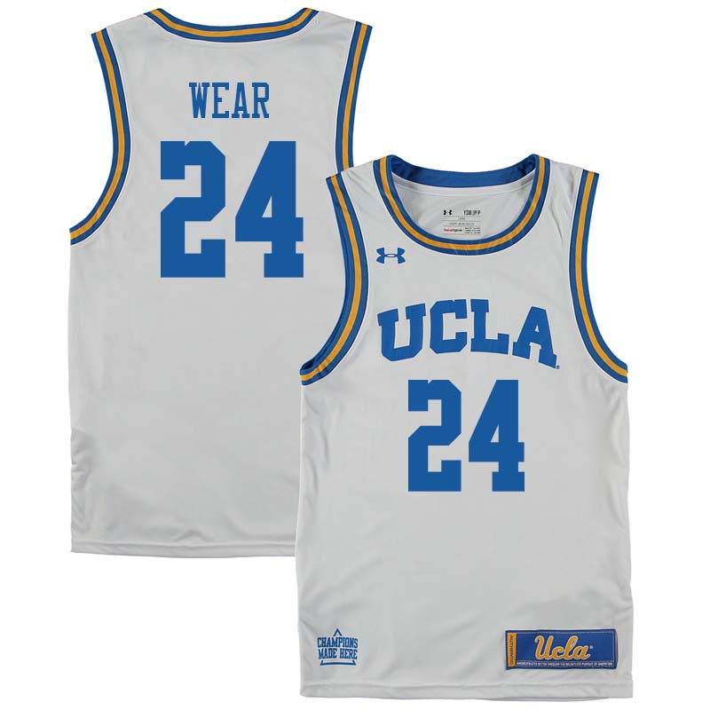 Men #24 Travis Wear UCLA Bruins College Basketball Jerseys Sale-White