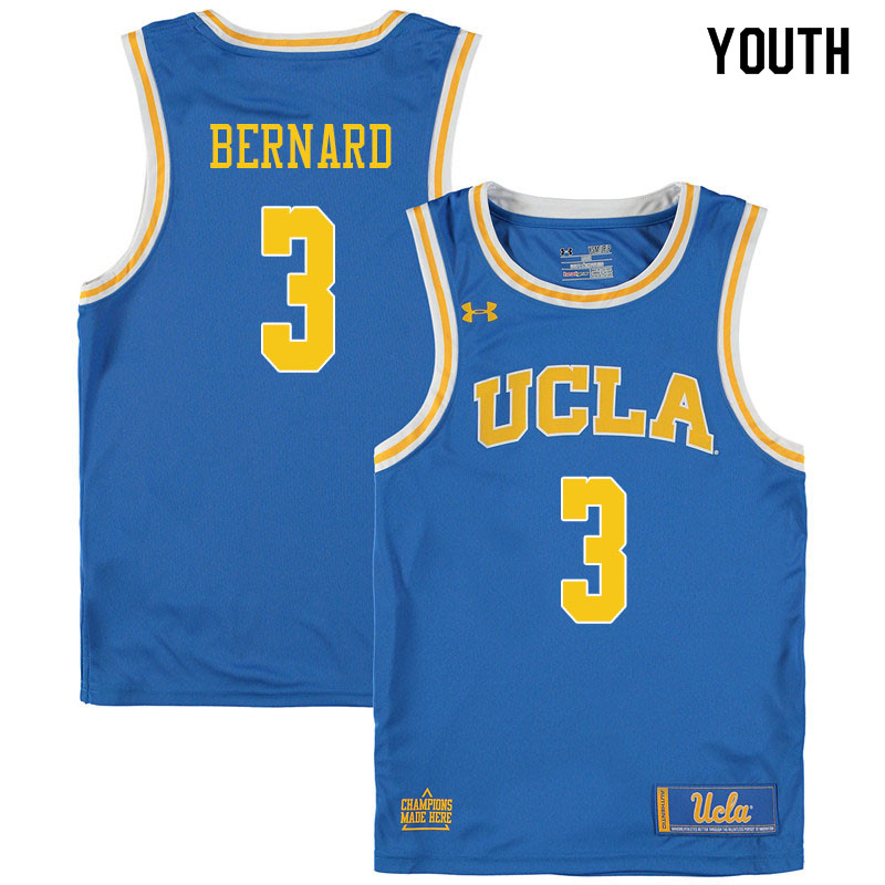 Youth #3 Jules Bernard UCLA Bruins College Basketball Jerseys Sale-Blue