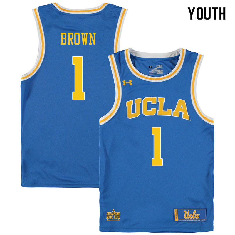 Youth #1 Moses Brown UCLA Bruins College Basketball Jerseys Sale-Blue