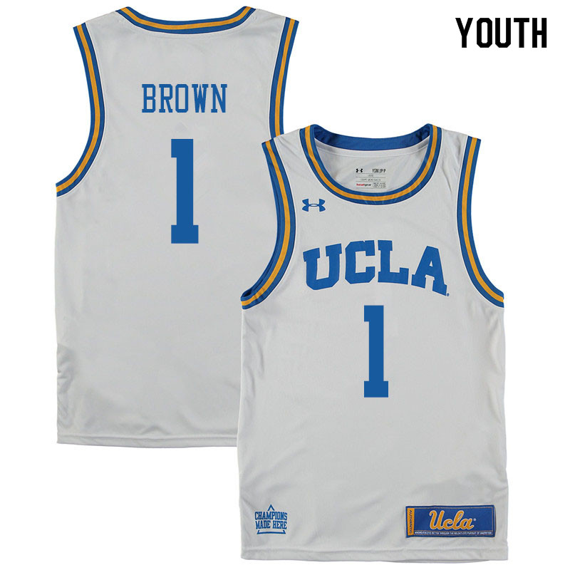Youth #1 Moses Brown UCLA Bruins College Basketball Jerseys Sale-White