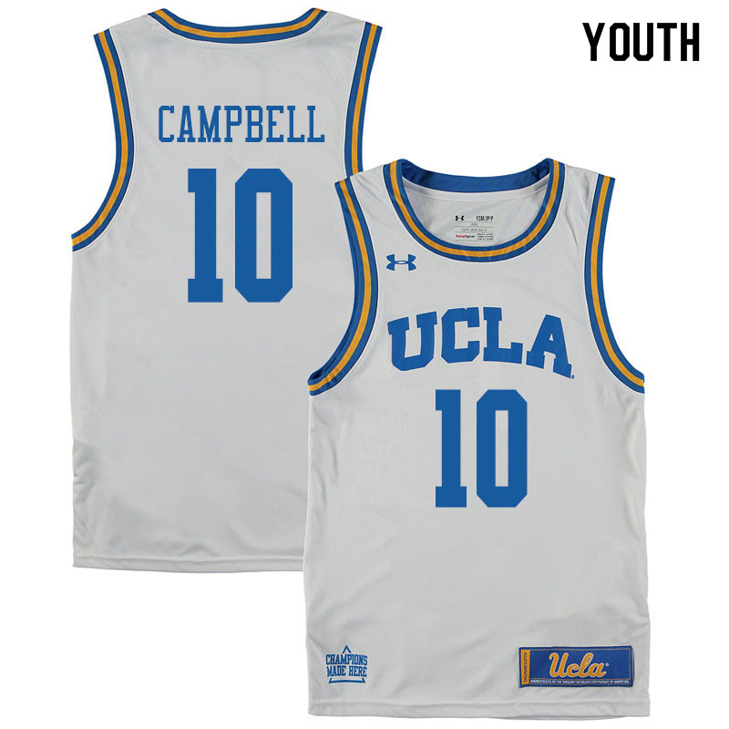 Youth #10 Tyger Campbell UCLA Bruins College Basketball Jerseys Sale-White