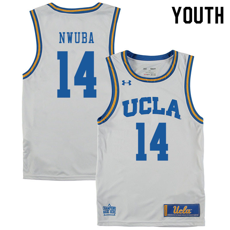 Youth #14 Kenneth Nwuba UCLA Bruins College Basketball Jerseys Sale-White