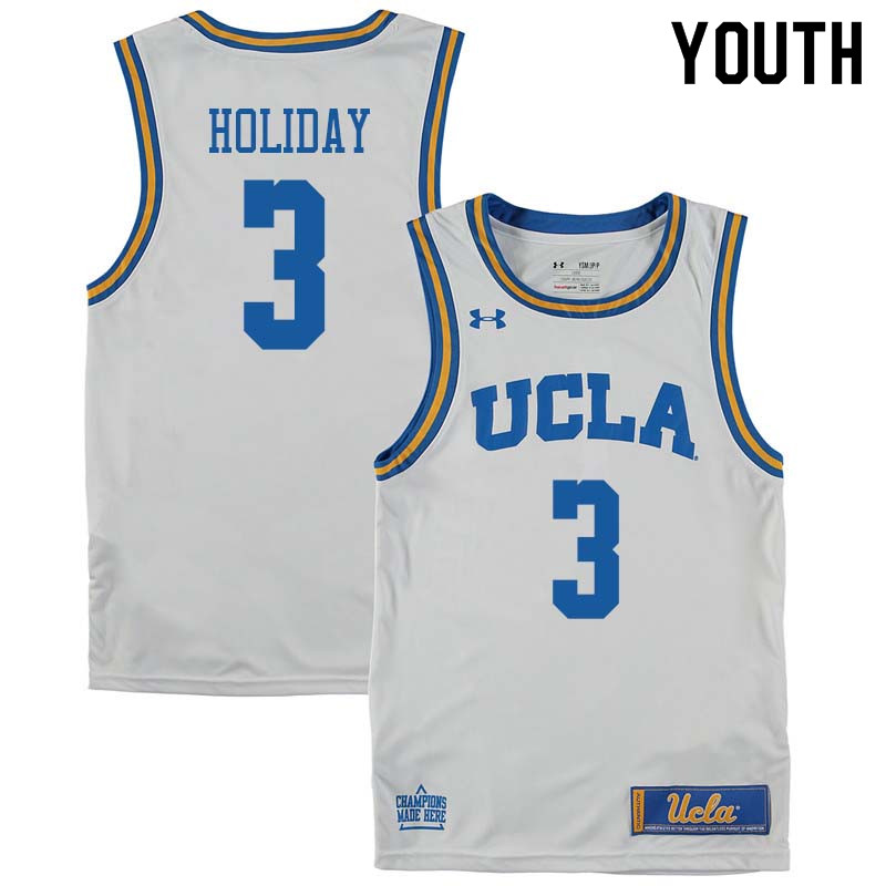 Youth #3 Aaron Holiday UCLA Bruins College Basketball Jerseys Sale-White