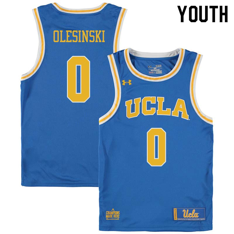 Youth #0 Alex Olesinski UCLA Bruins College Basketball Jerseys Sale-Blue