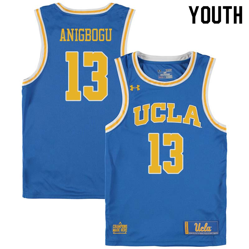 Youth #13 Ike Anigbogu UCLA Bruins College Basketball Jerseys Sale-Blue