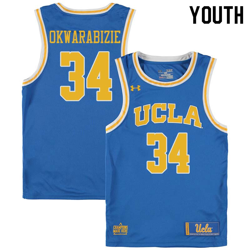 Youth #34 Ikenna Okwarabizie UCLA Bruins College Basketball Jerseys Sale-Blue