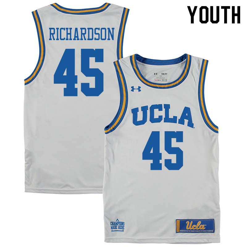 Youth #45 Jerome Richardson UCLA Bruins College Basketball Jerseys Sale-White