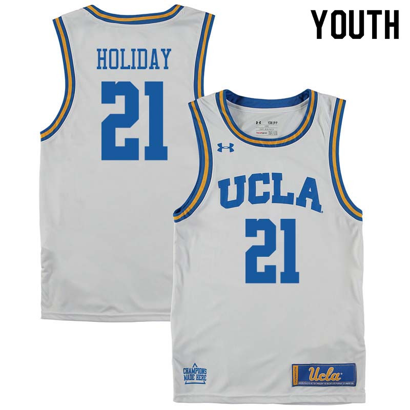 Youth #21 Jrue Holiday UCLA Bruins College Basketball Jerseys Sale-White