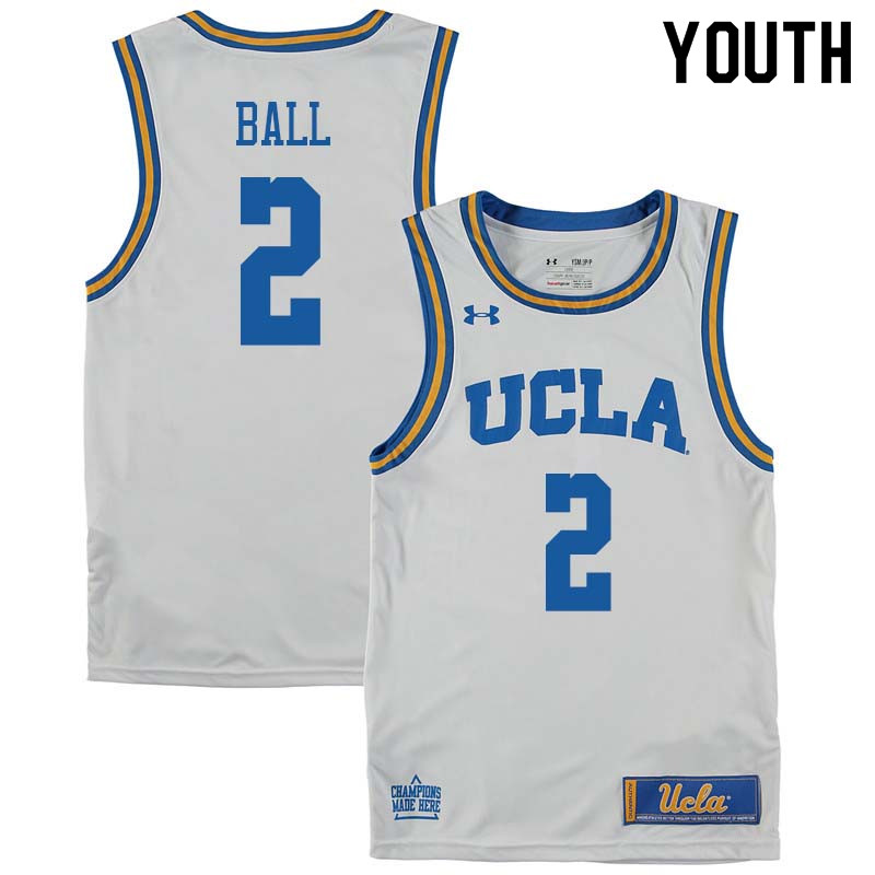 Youth #2 Lonzo Ball UCLA Bruins College Basketball Jerseys Sale-White