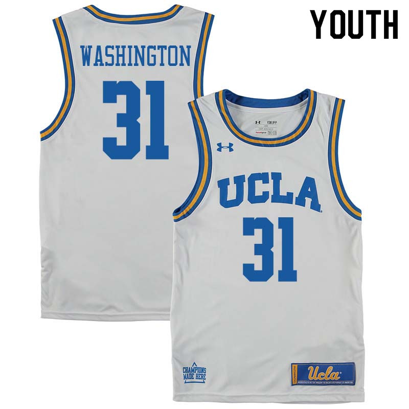 Youth #31 Richard Washington UCLA Bruins College Basketball Jerseys Sale-White