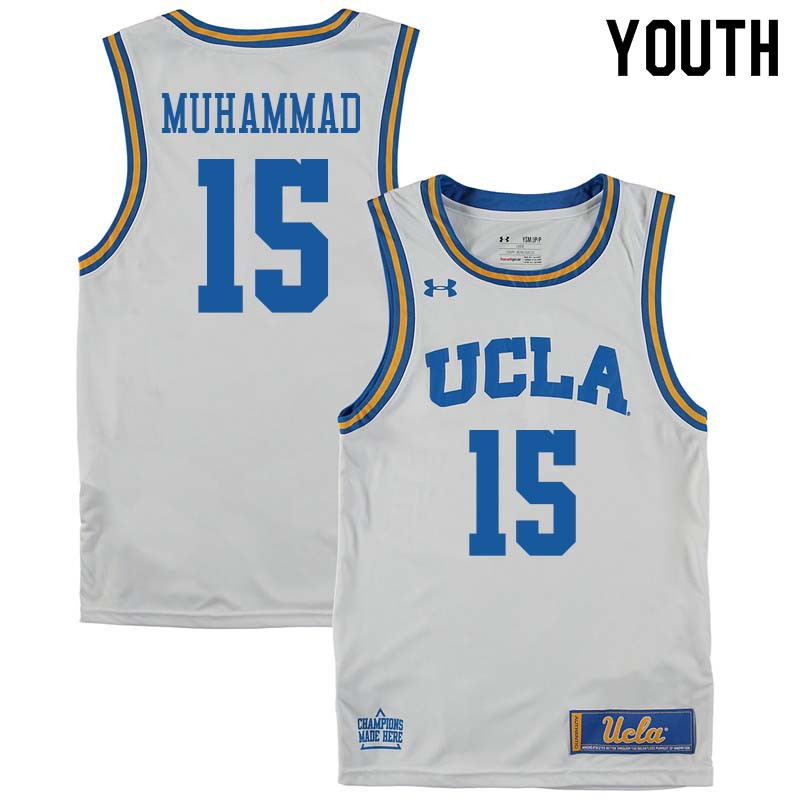 Youth #15 Shabazz Muhammad UCLA Bruins College Basketball Jerseys Sale-White